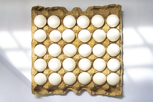 White Eggs on Tray