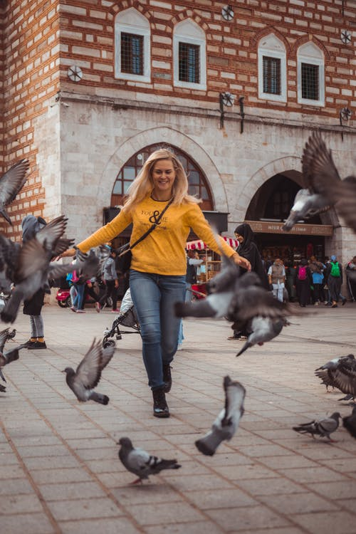 Free stock photo of beautiful girl, birds, birds flying, city birds