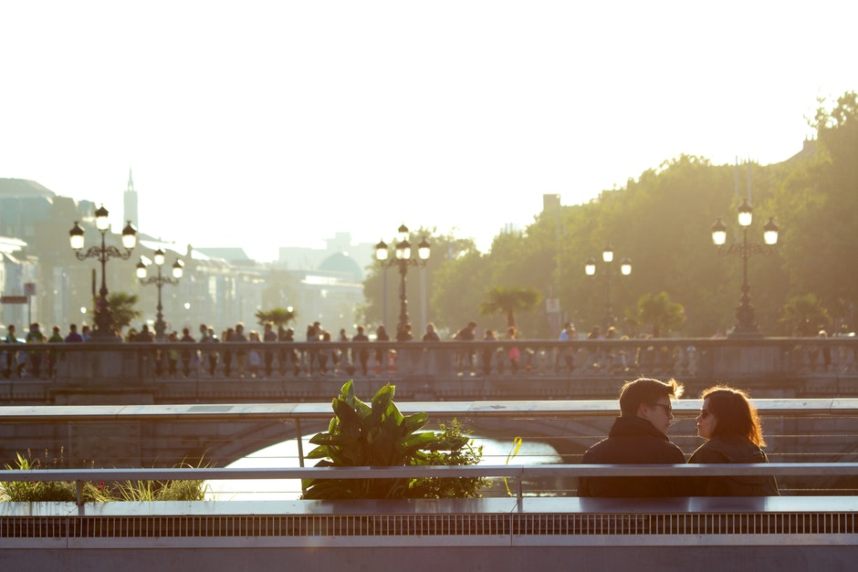 city, couple, love