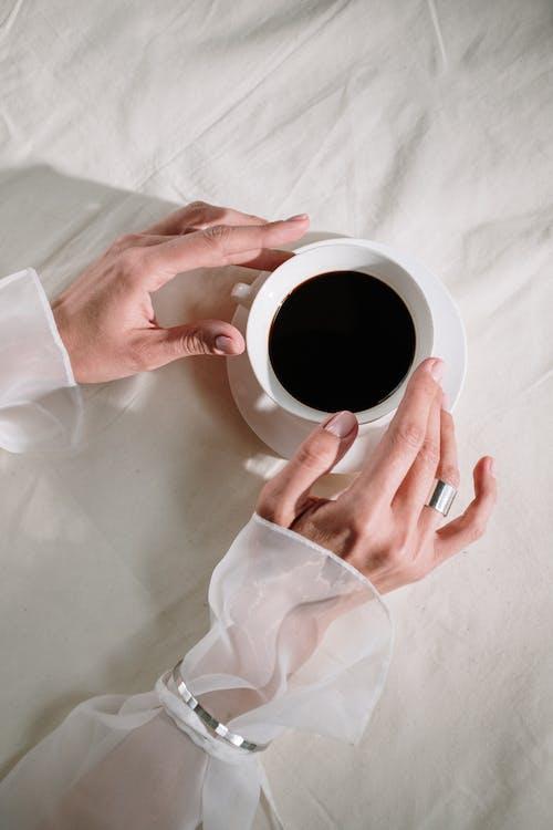 aristokrat, Beyaz arka plan, bez, bir fincan kahve içeren Ücretsiz stok fotoğraf