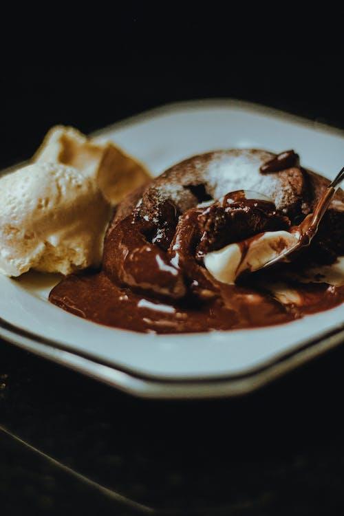 Chocolate Ice Cream on White Ceramic Plate