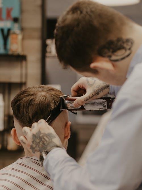 Man in White Dress Shirt Cutting Hair of Man in White Dress Shirt