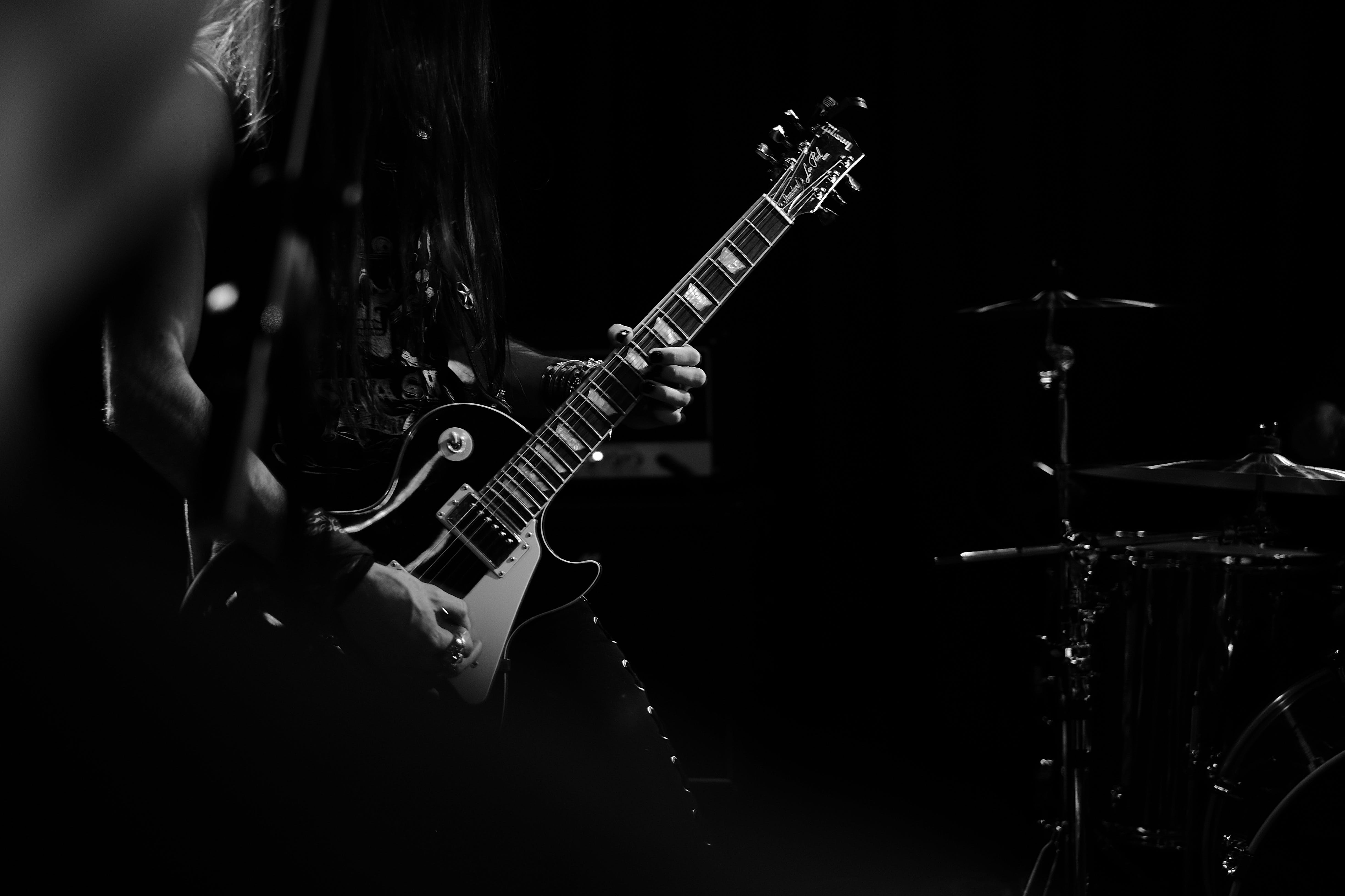 Man Playing Electric Guitar Grey Scale Photography