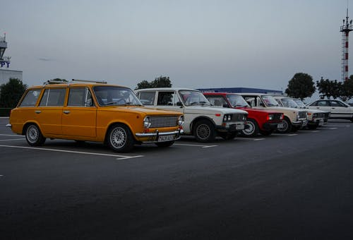 Vintage Cars Parked on Parking Lot