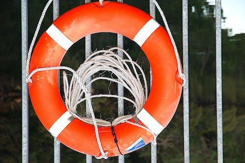 Free stock photo of buoy, orange, rails, rope
