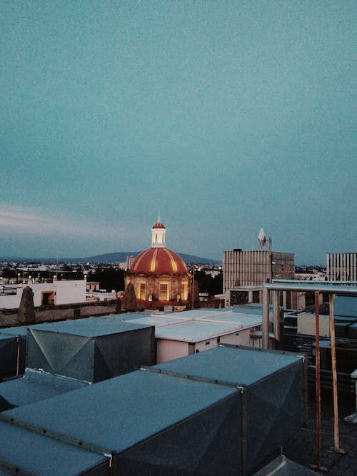 Free stock photo of blue, pink, rooftop