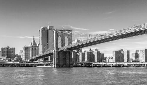 Free stock photo of black and white, brooklyn bridge, new york