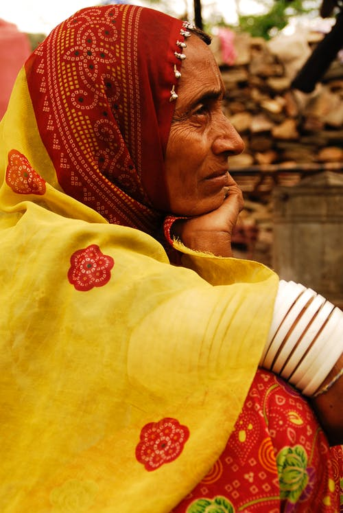 Side View Photo Of An Old Woman