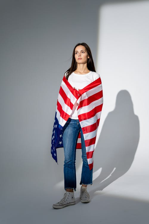 Woman With an American Flag