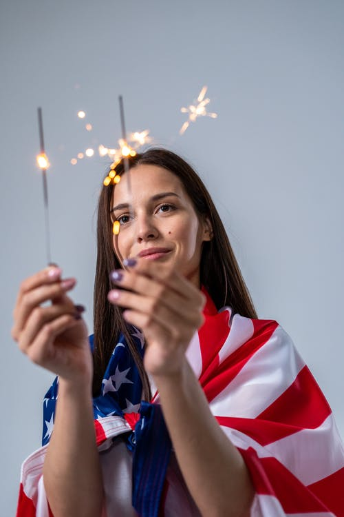 Woman Celebrating the 4th of July