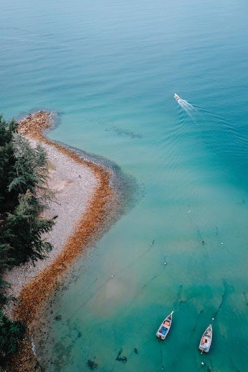 Boats floating in ocean water near coastline