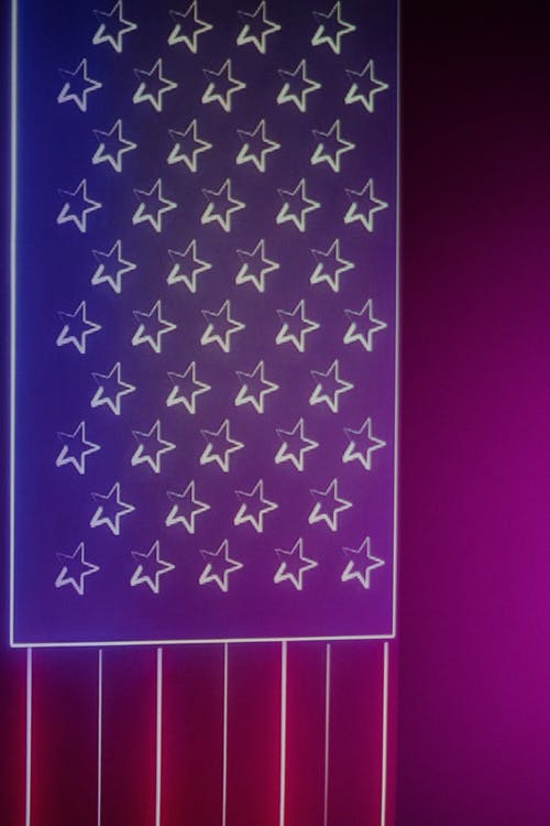 Neon Projection of the American Flag