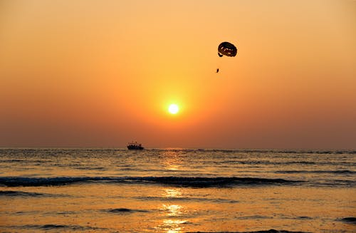 Long-angle Silhouette Photography of Paraglider