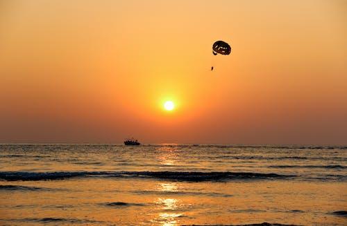 Бесплатное стоковое фото с берег моря, волны, закат, летающий
