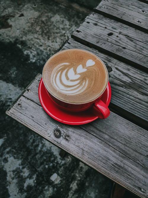 Gratis stockfoto met bovenaanzicht, cafeïne, cappuccino