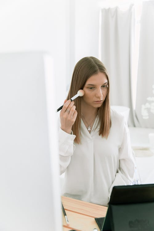 Photo Of Woman Holding Make-Up Brush
