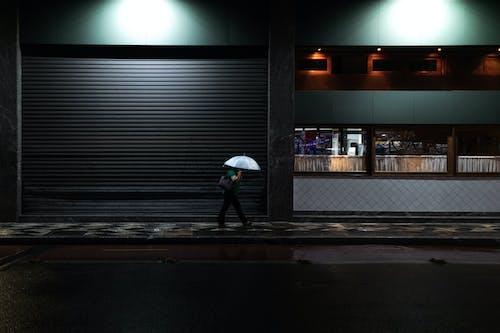 Person in White Umbrella Walking on Sidewalk