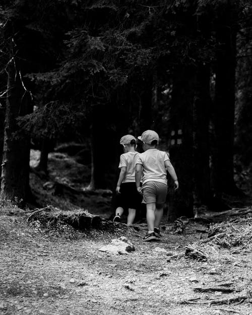 Grayscale Photo of Boys Walking on Forest