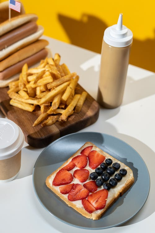 Fries and French Toast on Table