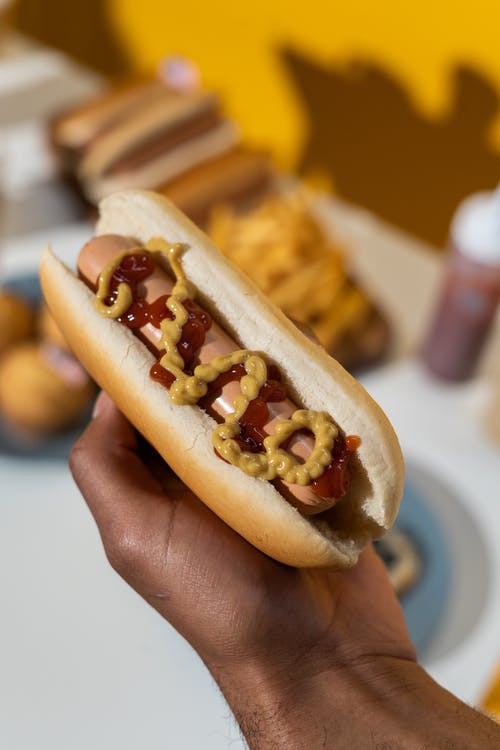 Person Holding Hotdog