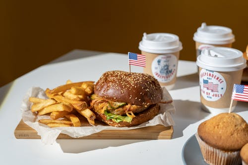 Burger and Fries With Coffee