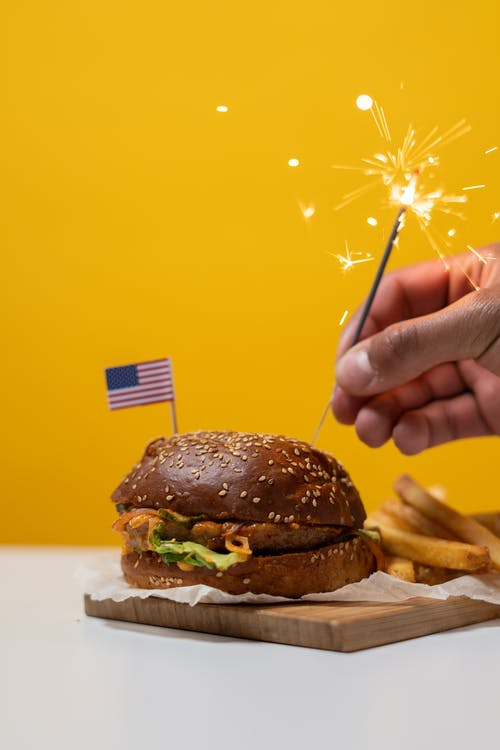 Burger and Fries With Sparkler