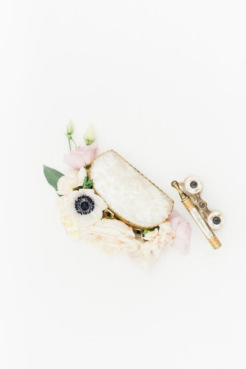 Gold and White Floral Key Chain
