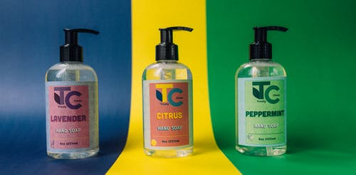 Free stock photo of cleaning product design, graphic design, hand sanitizer