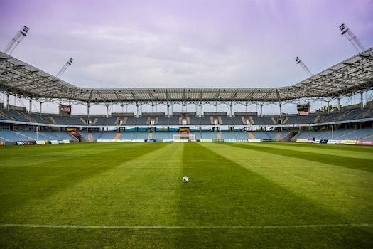 Soccerball on Wide Green Grass Field