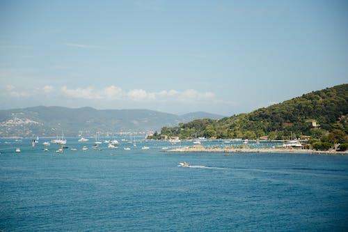 Free stock photo of amalfi, boats, clouds, green