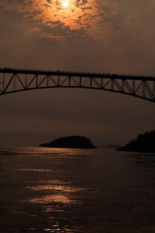 Fotos de stock gratuitas de isla, nubes, puente, puesta de sol