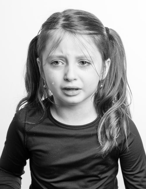 Little girl crying against white background
