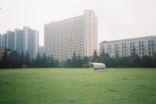White and Blue Bus on Green Grass Field Near High Rise Building