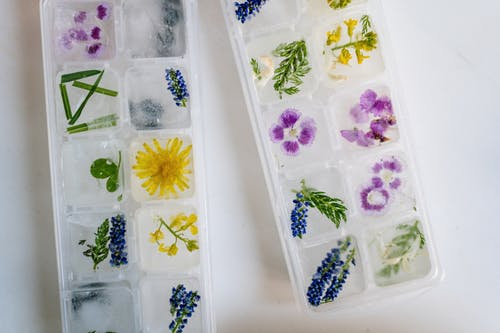 Blue and White Floral Plastic Tray