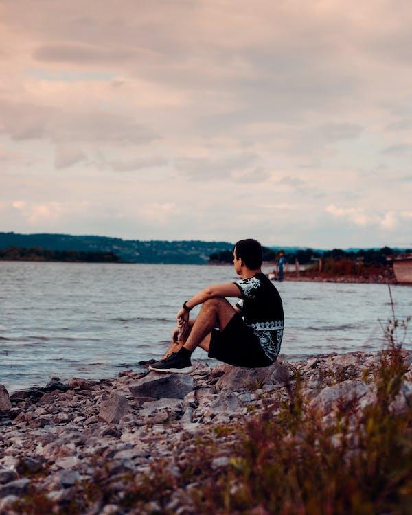 закат, мужчина, озеро