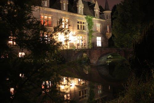 Imagine de stoc gratuită din apă, castel, lumini, noapte