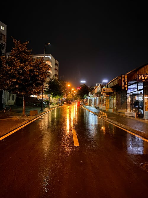 Free stock photo of after rain, city at night, city lights