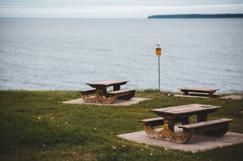 Wooden benches on coast of sea