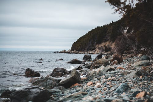 Photo of Rocky Shore Under Cloudy Sky