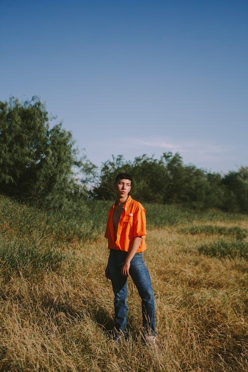 Foto d'estoc gratuïta de a l'aire lliure, actitud, aparença, camp d'herba