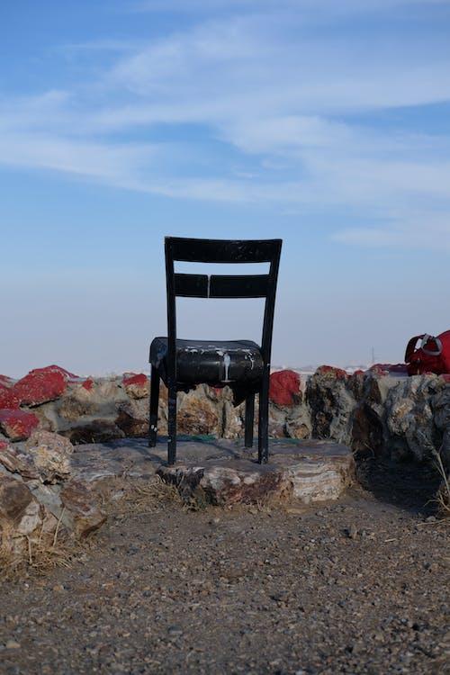 Free stock photo of beautiful sky, black chair