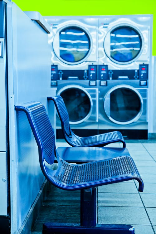 Photo of Blue Bench in Laundry Facility