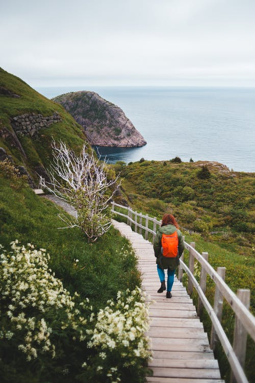 Photo of Person Walking on Wooden Pathway