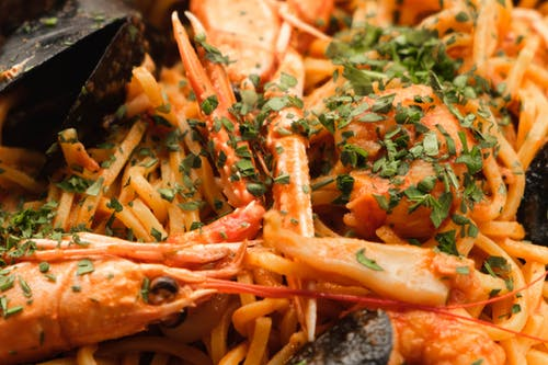 Delicious pasta with shrimps and oysters