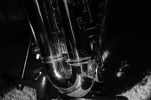 Free stock photo of black and white, saxophone, shadows