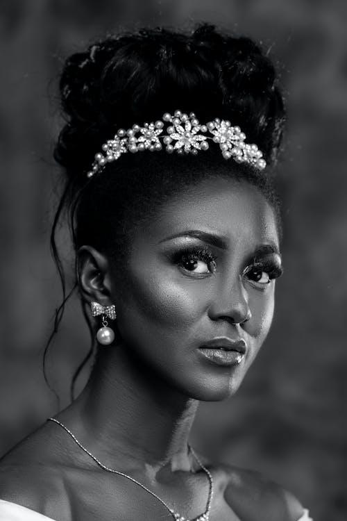 Woman Wearing Silver Floral Tiara