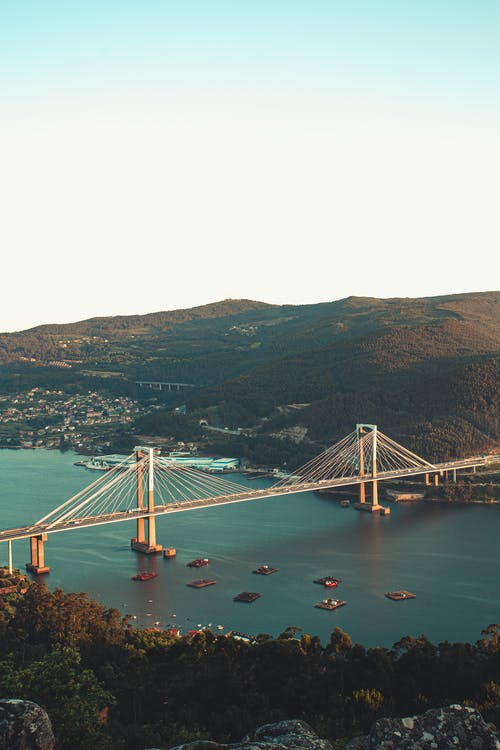 Aerial View of Bridge over Body of Water