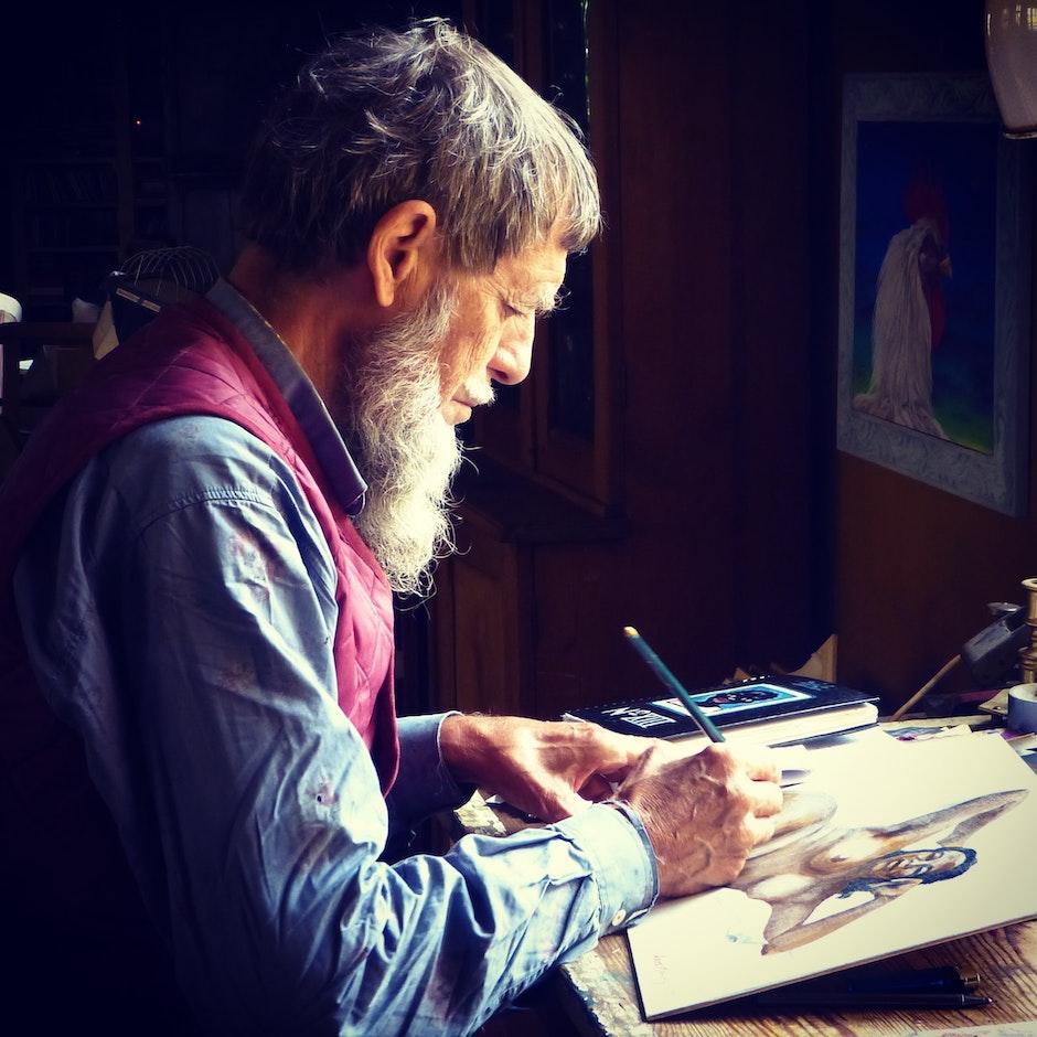 Man Painting Wearing Blue Dress Shirts