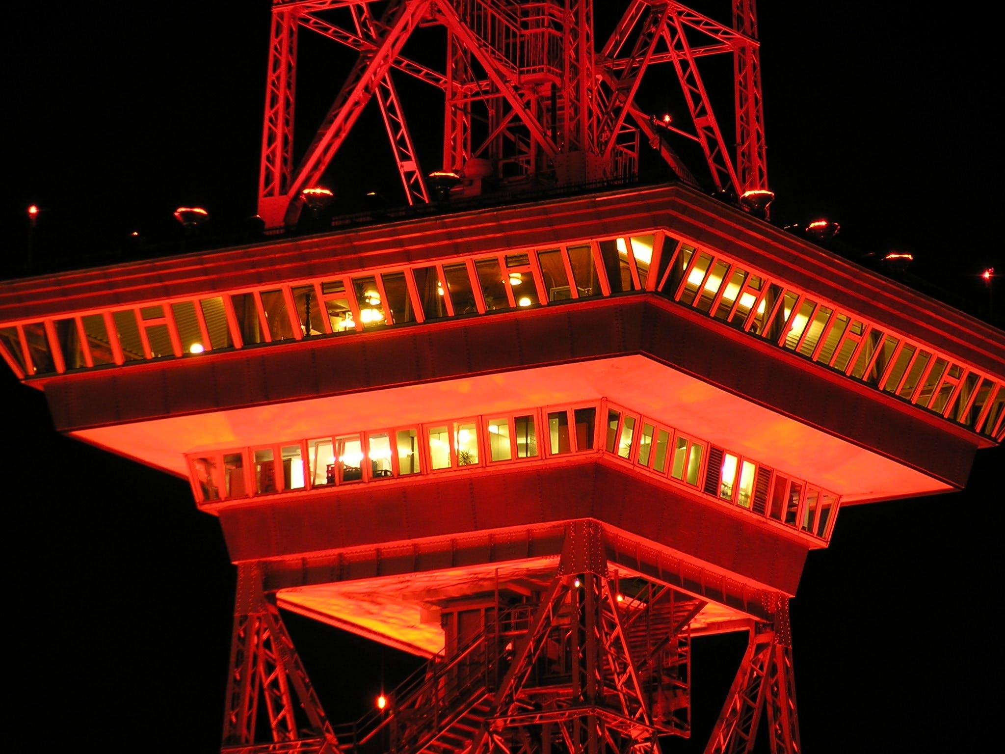 Red Metal Tower at Nighttime