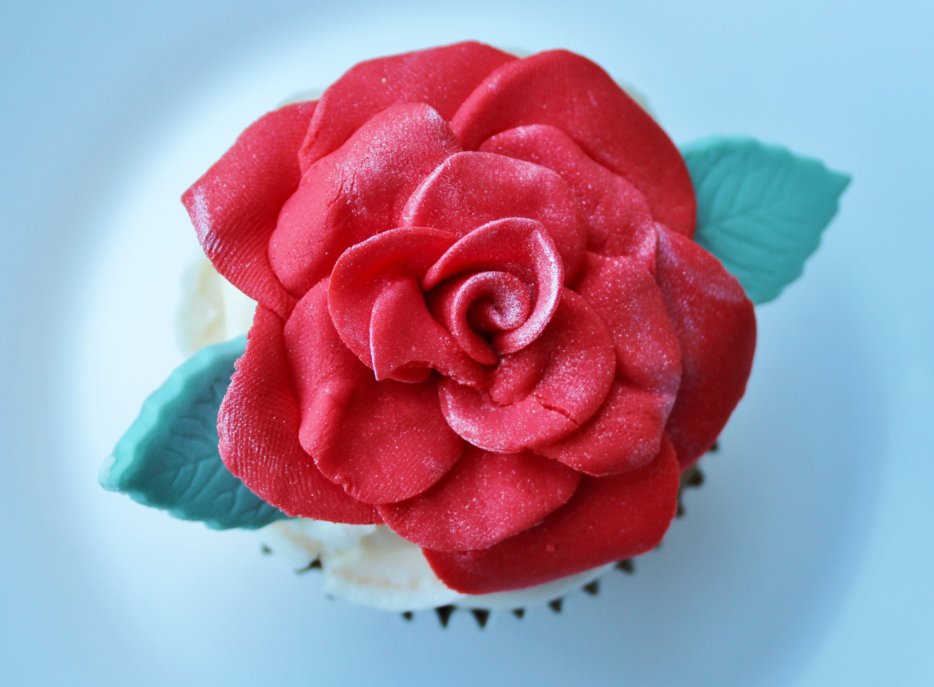 Red Rose Topped Cupcake on White Surface